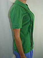 Блуза с застроченными складами на полочке, зеленая