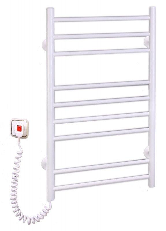 Электрический полотенцесушитель для ванной комнаты c терморегулятором, Лесенка-9(белая),Elna