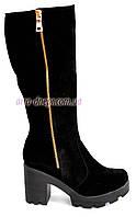Замшевые женские зимние сапоги на устойчивом каблуке, декорированы молнией, фото 1