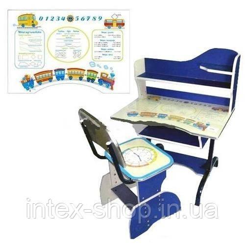 Детская парта со стульчиком трансформер Bambi HB 2072-01 (стол-парта растишка) синяя, ножки метал