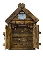 Настенная деревянная ключница Домик с часами. Ручная работа