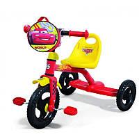 Детский трехколесный велосипед 0205C Disney Cars красно-желтый
