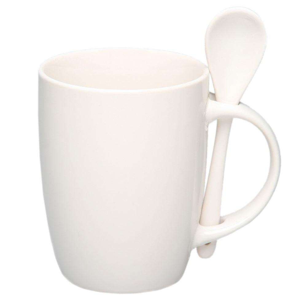 Чашка керамическая с ложкой, 300мл, цвет Белый