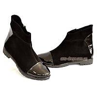 Женские зимние ботинки на низом ходу, натуральный замш и лак., фото 1