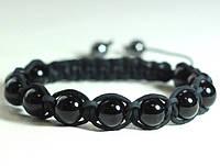 Кожаный браслет из оникса черного shamballa