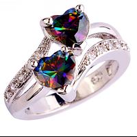 Женское кольцо с мистик топазом в виде сердца к дню Валентина