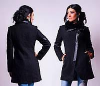 Пальто женское демисезонное с мехом, букле