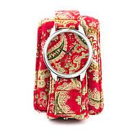 """Часы наручные """"Красные турецкие огурцы"""" тканевый ремешок"""