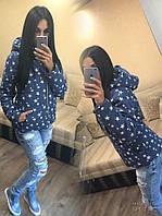 Женская куртка с капюшоном джинс на подкладе с синтепоном 181 ЮК