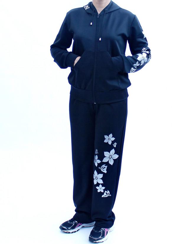 Женский спортивный костюм большого размера с узором Цветы вид спереди фото teens.ua
