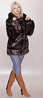 Шубка женская ниже бедра из искусственного меха коричневого цвета под норку (в розницу +150грн)