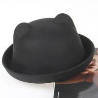 Шляпа женская фетровая котелок Кошечка с ушками черная, фото 1