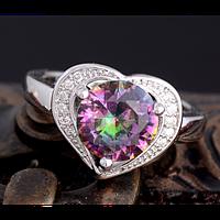 Кольцо в виде сердца с мистик топазом 17р 18р 19р, фото 1