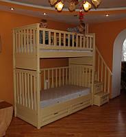 """Кровать двухъярусная """"ИРИНА"""", из массива натурального дерева."""
