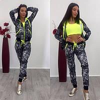 Спортивный женский костюм с неоновыми вставками осень-весна Черный с салатовым, 42