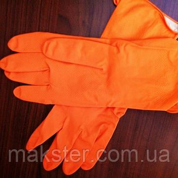Перчатки хозяйственные оранжевые  Work and Care , фото 2