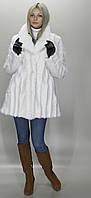 Шубка средней длины под норку в белом цвете, мех искусственный (в розницу +150грн)