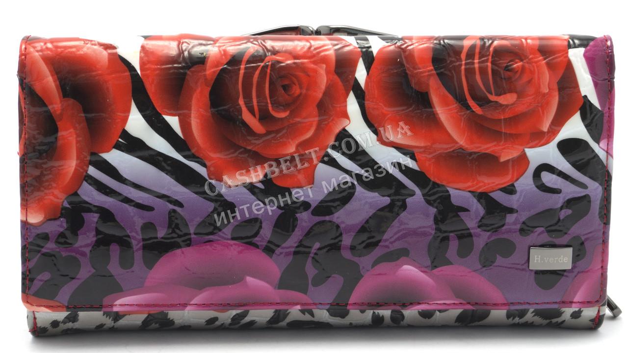 Классический кожаный женский кошелек рептилия H.VERDE art.2460-E29
