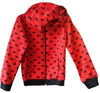 Красная трикотажная кофта с сердечками, на 4-8 лет