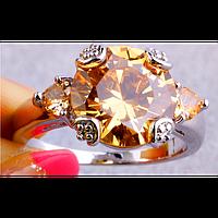 Кольцо в серебре в виде цветка с морганитом 17р 18р 19р 20р