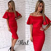 Красивое осеннее Платье с рукавами-воланами (красный, черный, изумруд, персик, светло-желтый)