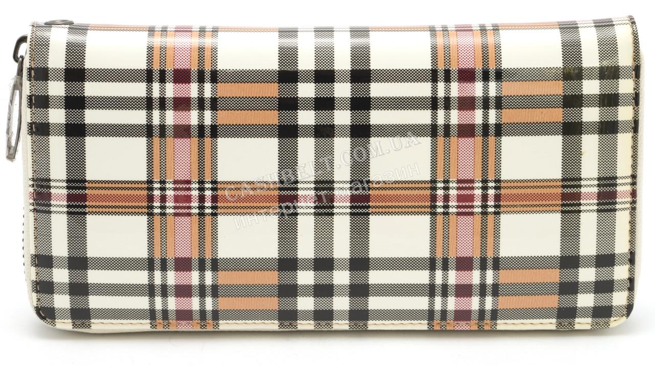 Стильный женский кожаный кошелек барсетка в клетку лак BODFON art. 2480 B89