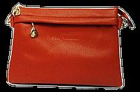 Сумка-клатч женская рыжая со змейкой