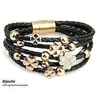 Браслет ювелирная бижутерия кожа декор кристаллы Swarovski