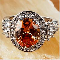 Серебряное кольцо с морганитом и белым топазом 17р