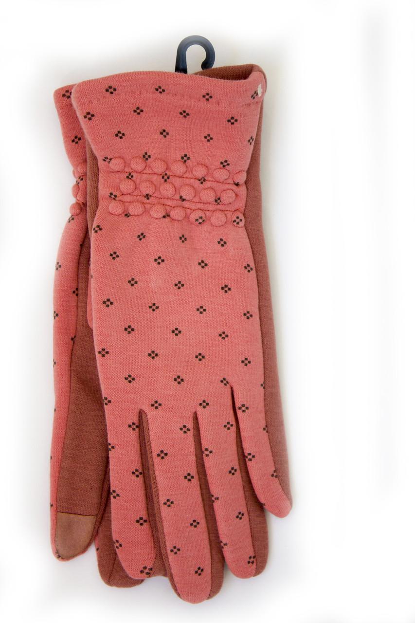 Стильные сенсорные женские перчатки коралл