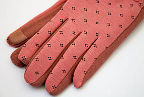 Стильные сенсорные женские перчатки коралл, фото 2