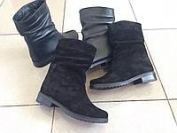 Полусапоги ботинки женские кожа и замша черные и бордо код 143