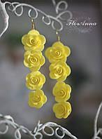 """Длинные желтые серьги с цветами из полимерной глины  """"Длинные розы"""", фото 1"""