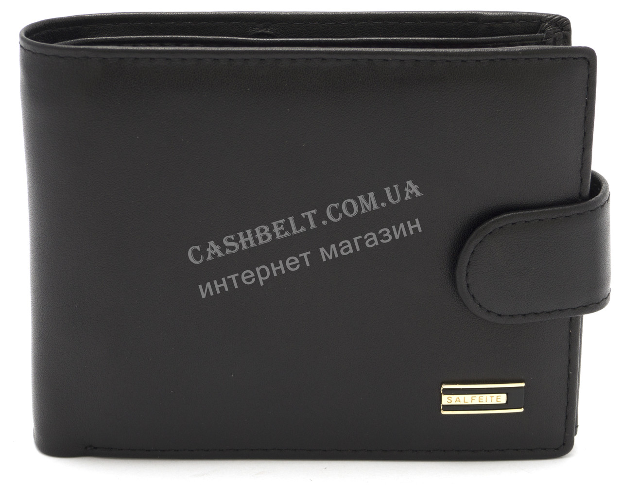 Стильный практичный кожаный мужской кошелек портмоне SALFEITE art. 8233N-BLK черного цвета