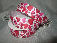 Репс 2,5 см сердечка рожеві з червоним