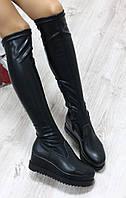 Демисезонные модные женские  сапоги - чулок Материал - натуральная кожа, черные