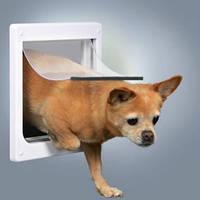 Дверца для кошек/собак, 2 функции, (20х21см), пластик, белый.
