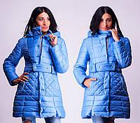 Женская стеганая куртка с поясом, весна-осень