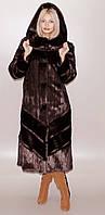 Шубка женская длинная из искусственного меха под коричневую норку