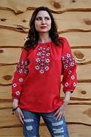 Рубашка-вышиванка женская красная