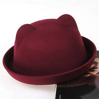 Шляпа женская фетровая котелок Кошечка с ушками бордовая
