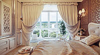 Штора в спальню на подхватах с ламбрекеном