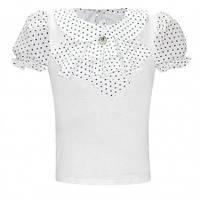 Белая нарядная блузка в школу р.122-146 (арт.777)