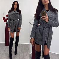 Пальто женское на атласной подкладке с поясом