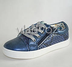 Демисезонные детские кроссовки для девочки девочек синий Clibee 27р
