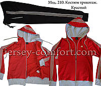 Трикотажный спортивный костюм.Красный\черный Мод. 210, фото 1