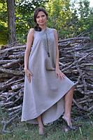 Вышитое длинное платье с американской проймой бежевое