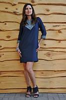 Платье-мини вышивкой на груди и по рукавам