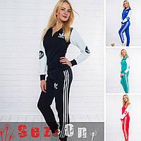 Спортивный женский костюм Адидас куртка + штаны с полосками (оптом)