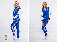 Спортивный женский костюм Адидас куртка + штаны с полосками (оптом) Электрик